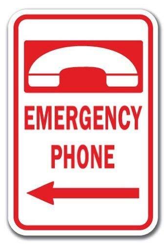 HSSS Lustiges Dekoschild Notruf-Telefon mit Pfeil nach Links, aus starkem Metall