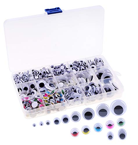 OOTSR (Ca. 1100pcs) sortierte Größen Selbstklebende Googly Augen Wackelaugen 5-25mm, Kunststoff Wackelaugen Aufkleber für DIY Schrott Buchung Handwerk Spielzeug Zubehör