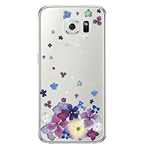 Hamee Designer Case from Japan Clear Protective Plastic Hard Cover for Samsung GalaxyS6 (Purple Falling Flowers)