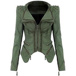 NEU Punk Revers PU Leder Smoking Mantel Blazer Nieten Damen Jacke Biker Studs Spike Schulterpolster Jacket (XL, Grün)