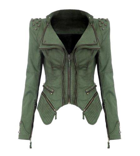 NEU Punk Revers PU Leder Smoking Mantel Blazer Nieten Damen Jacke Biker Studs Spike Schulterpolster Jacket (S, Grün)
