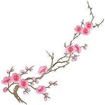 1 x Flor de Ciruelo Apliques Bordado Hierro por coser Ropa Parche 28 x 22 cm (Rosa)