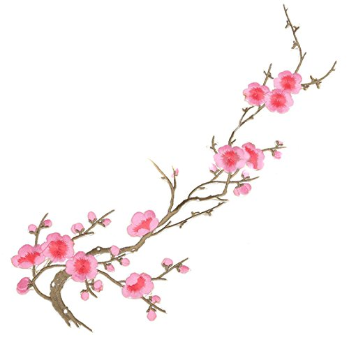 1 x Flor de Ciruelo Apliques Bordado Hierro por coser Ropa Parche...