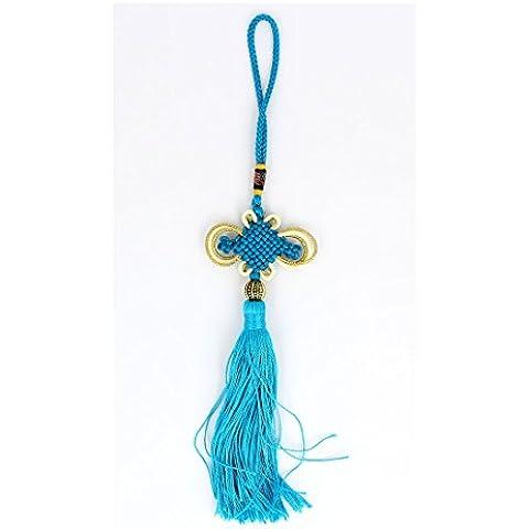 Cuenta redonda Detalle del nudo de la borla de la decoración china 28cm de largo Teal