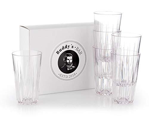 Buddy's Bar - 6er Set, Hochwertige 0,5 Liter Tritan Kunststoff Trinkgläser, BPA frei, Kristallglas-Optik, bruchfeste Mehrweg-Gläser, wiederverwendbar und spülmaschinenfest, 500 ml Kunststoff-gläser