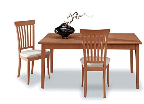 Santarossa - sedia liberty, finitura ciliegio e tessuto avorio, se1718r, dim. l.48 h.98 p.44 cm
