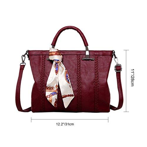 Vbiger PU Leder Handtasche Schick Schultertasche Modische Umhängetasche Beiläufig Kuriertaschen für Frauen Rot