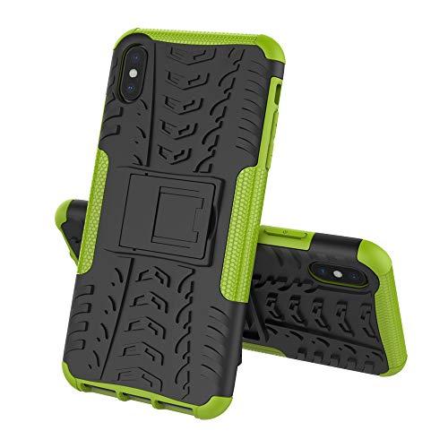 ZERMU Schutzhülle für iPhone XS, stoßfest, Ultra dünn, langlebig, Hartplastik, mit Ständer, Armor Defender stoßfest, stoßfest, Kratzfest, für iPhone XS Max 16,5 cm (2018-Modell), grün