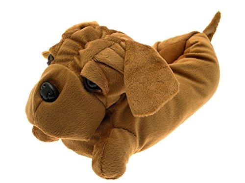 Chaussons fantaisie en peluche - animal - femme/fille Bulldog Marron Clair