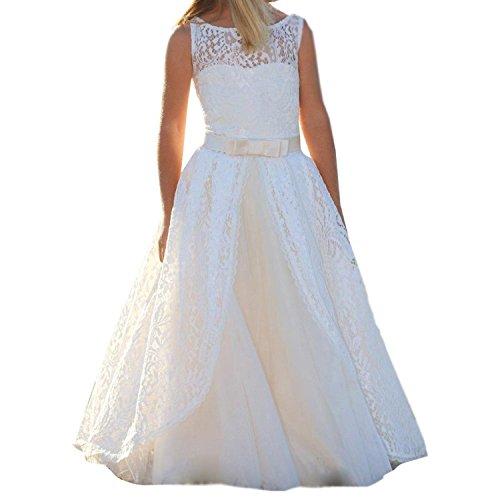 Spitze lange weiße Blume Mädchen Kleider Kommunion Party Kleider (Elfenbein, 10)