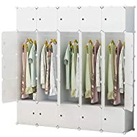 TYUIO Portable Wardrobe Closet for Hanging Clothes, Combination Armoire, Modular Cabinet for Space Saving, Ideal Storage Organizer Cube for Books, Toys, Towels (Size : 5 Hangers)