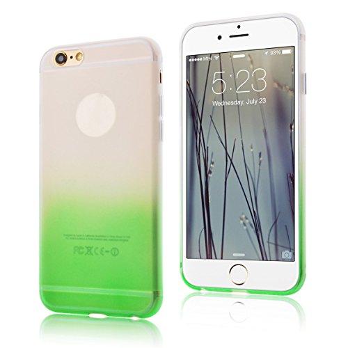 CaseLover Cover Custodia per Apple iPhone 6/6S Plus (5.5 Pollici) di colore della caramella Cambia graduale Bumper Morbida Trasparente TPU Silicone Gel Gomma Flessibile Sottile Invisibile Ultra Thin Slim per la ragazza - Verde
