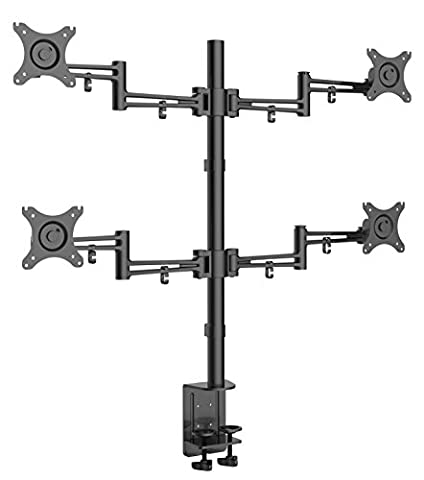 """Bramley Power LCD LED Quad Monitor Desk Mount Arm Stand Bracket, Very Strong and Light Weight Die-Cast Aluminium supports up to 10Kg 30"""" monitor with Tilt and Swivel (Tilt ±15°, Swivel 180°, Rotate 360°) (Quad Monitor)"""
