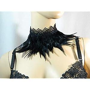 Feder Halsband Kragen schwarz Choker Kropfband Kette Karneval Rabe Kostüm Vogel Federkragen