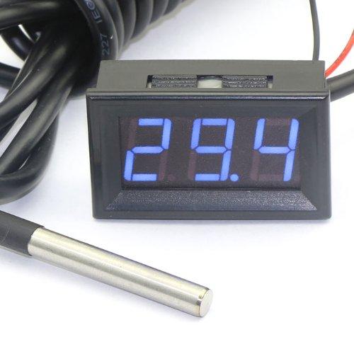 DEOK Digital Thermometer -55-125 ° C blaue LED-Anzeige Temperaturfühler Indoor Outdoor Temp Detector