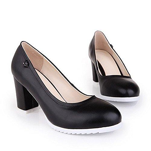 VogueZone009 Femme Pu Cuir Couleur Unie Tire Fermeture D'Orteil Rond à Talon Haut Chaussures Légeres Noir