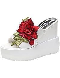 Chanclas Mujer Verano,Las mujeres gruesas de fondo inclinado zapatillas bordadas sandalias de tacón alto zapatos de plataforma LMMVP