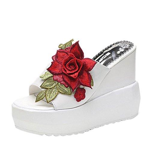 Chanclas Mujer Verano,Las mujeres gruesas de fondo inclinado zapatillas bordadas sandalias de tacón alto zapatos de plataforma LMMVP (36(EU), Blanco)