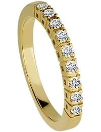 Diamond Line Damen - Ring 585er Gold 9 Diamanten ca. 0,25 ct., gelbgold