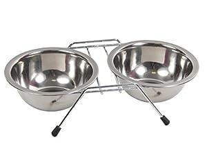 Double gamelle pour chien ou chat en inox (Alsino 871003) dans un support est équipé de pieds antidérapants pour une bonne stabilité Les deux bols en Inox de 250 ml sont amovibles