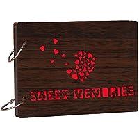 Studio Shubham Wood Teak Sweet Memories Photo Album With Butter Paper (26 Cm X 16 Cm X 4 Cm, Brown)