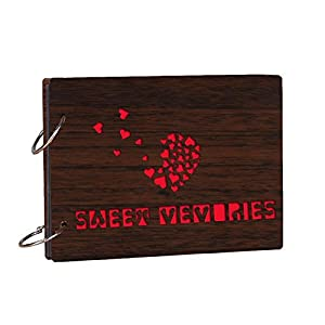 Studio Shubham Wood Teak Sweet Memories Photo Album With Butter Paper (26 Cm X 16 Cm X 4 Cm, Brown)