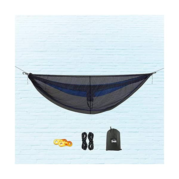 LIOOBO 1Set Camping Hammock with Mosquito Net Lightweight Adjustable Net Hammock Bug Hammock Mosquito Hammock for Backpacking Beach LIOOBO Great Gifts: adults, couples, travelers, couples with kids, beachers, campers - everyone says they enjoy it! A great gift for travel, camping, yard You can also quickly store the hammock and parts in the bag quickly. The camping hammock compacts to a backpack friendly, portable size for your convenience. Has built-in ultralight, waterproof compression stuff-sack, with a 2-sided buckle design that wonâ€t drag in the dirt while you hang. 9