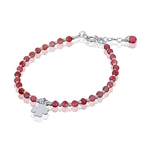 MATERIA Schmuck Achat Armband Kleeblatt - 925 Silber Armband rosa rot mit Achat Perlen Glücksstein Heilstein 17,5-20cm #SA-1-ROS