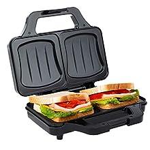 Ultratec Toasteur pour sandwichs en coquille électrique, machine à sandwich pour toast XXL, plaques antiadhésives, mini toasteur avec témoin de contrôle de température, 900 watts, noir-argenté