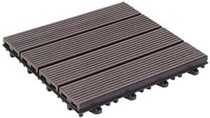 Gapa Florco WPC - Piastrelle per pavimenti esterni con sistema click, 6 pezzi, Colore Antracite
