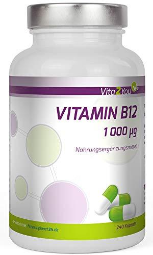 Vitamin B12 - 1000 µg - 240 Kapseln - Methylcobalamin - Hochdosiert - Premium Qualität - Made in Germany