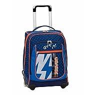 2en1 Sac à dos Trolley SEVEN ROUND – FLASH UP - bleu orange - Bretelles qui se cachent! 37 LT école et voyage nouveau