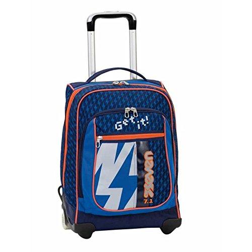 Preisvergleich Produktbild 2in1 TROLLEY SEVEN ROUND - FLASH UP - blau orange- 37 LT - Bei Verwendung als Trolley komplett versenkbare Tragegurte im Rücken! Schule und Reise neu