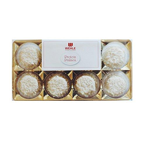 Wehle Sports Protein Pralinen 32 Eiweiß Pralinen - 320g Inhalt: 4x Blister je 8 Pralinen = 320g │ Alternative zu Protein Riegeln mit Vitafiber (White Chocolate Coconut)