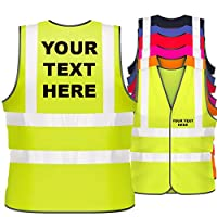 Hi Vis Personalised Vest Safety Reflective Waistcoat Security Hi Viz