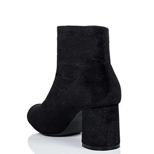 SPYLOVEBUY PALATIAL Femmes à Talon Bloc Bottines Chaussures Noir - Simili Velours