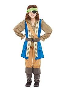 Smiffys 48779L - Disfraz de capitán pirata con licencia oficial, talla L, para niños de 10 a 12 años, color azul