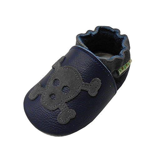Sayoyo Schädel WeichesLeder Lauflernschuhe Krabbelschuhe Babyschuhe (Navy blau,18-24 Monate) Infant Navy Schuhe