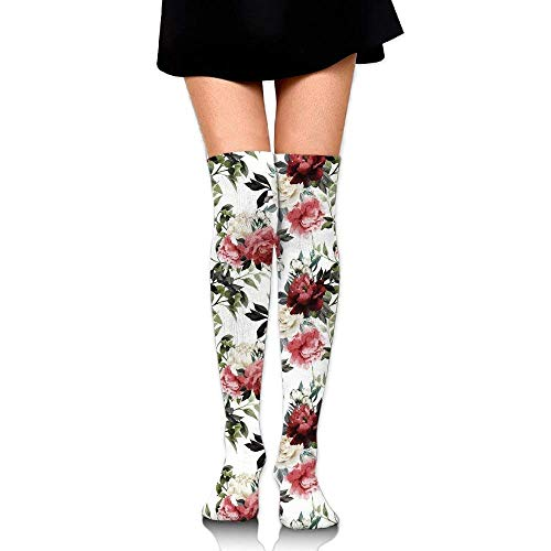 OQUYCZ Woman Botanical Arrangement with Soulful Rose and Peony Corsage Romantic Valentines Not Easy Pilling High Boot Socks