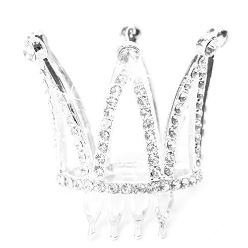SimpleLife Mini Frauen Dame Mädchen Strass Krone Braut Tiara Haar Kamm Pin Hochzeitsgesellschaft(Silber-2) (Silber Mini-tiara)