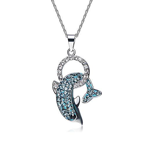 FYBDZCN Delphin Halskette S925 Sterling Silber Einfach Europäischer und amerikanischer Stil Anhänger, Blau Kristall Halskette, Frau Festival Geschenk,Blue