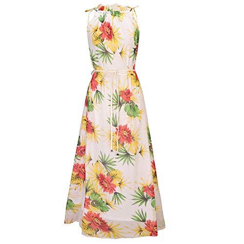 CJJC Böhmen Stil Gedruckt Kleider Für Frauen Lässige Chiffon Sleeveless Lange Bodenlangen Kleider Anzug Für Damen Mädchen Strandurlaub Täglichen Gebrauch - Chiffon Mädchen Bodenlangen Kleid