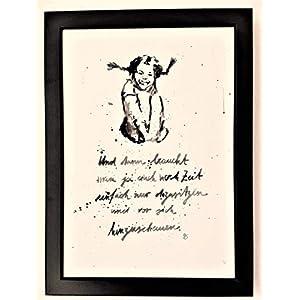 """""""Und dann braucht man ja auch noch Zeit."""" Bild, Poster, Dekoration, handgemaltes Original, schwarz-weiß, hygge, Aquarell, Din A4, Anti-BURN-OUT Motivation, Pippi Langstrumpf, Geschenkidee, MIT Rahmen"""