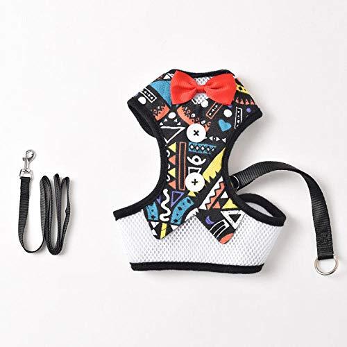 Anwasd7 Hundeleinen Hundebrustgurt Mit Weste-Stil Bogen Einstellbar Für Kleine Hunde Teddy Mode Brust Zurück Zugseil Zeichnung_M -