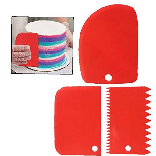 AMOYER 3 Stück Kunststoff-Kuchen Edge Side Scraper Backen Spachteln Kuchen-Polierer-Kuchen-Dekoration Werkzeuge (Rot)