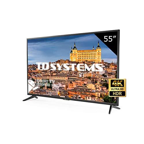 TD Systems K55DLG8US - Televisor LED de 55' (Ultra HD 4K Smart), color negro