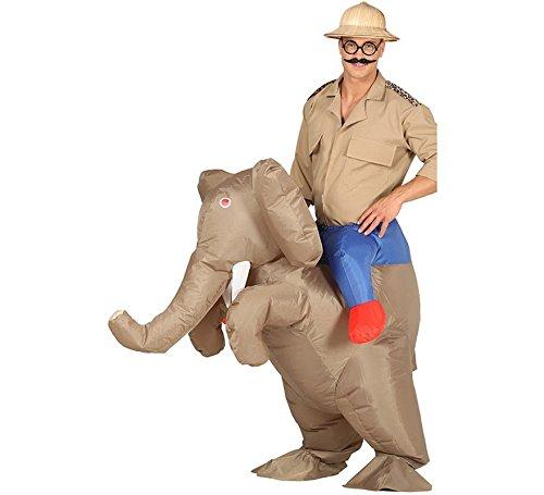 Imagen de disfraz hinchable cazador a hombros de elefante para adultos