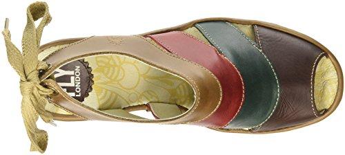 Fly London  Yown, Sandales femme Multicolore (Rug Dark Brown/Petrol/Camel)