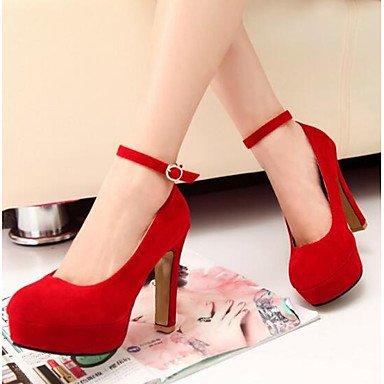 SHOESHAOGE Chaussures Pour Femmes En Cuir Nubuck Pu Automne Hiver De La Pompe De Base Talons Talon Pour Casual Black Rouge Bleu Red