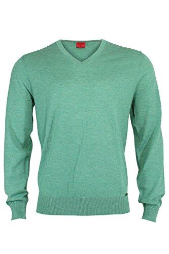 OLYMP Body Fit Pullover V-Ausschnitt Merino/Seide mittelgrün mittelgrün